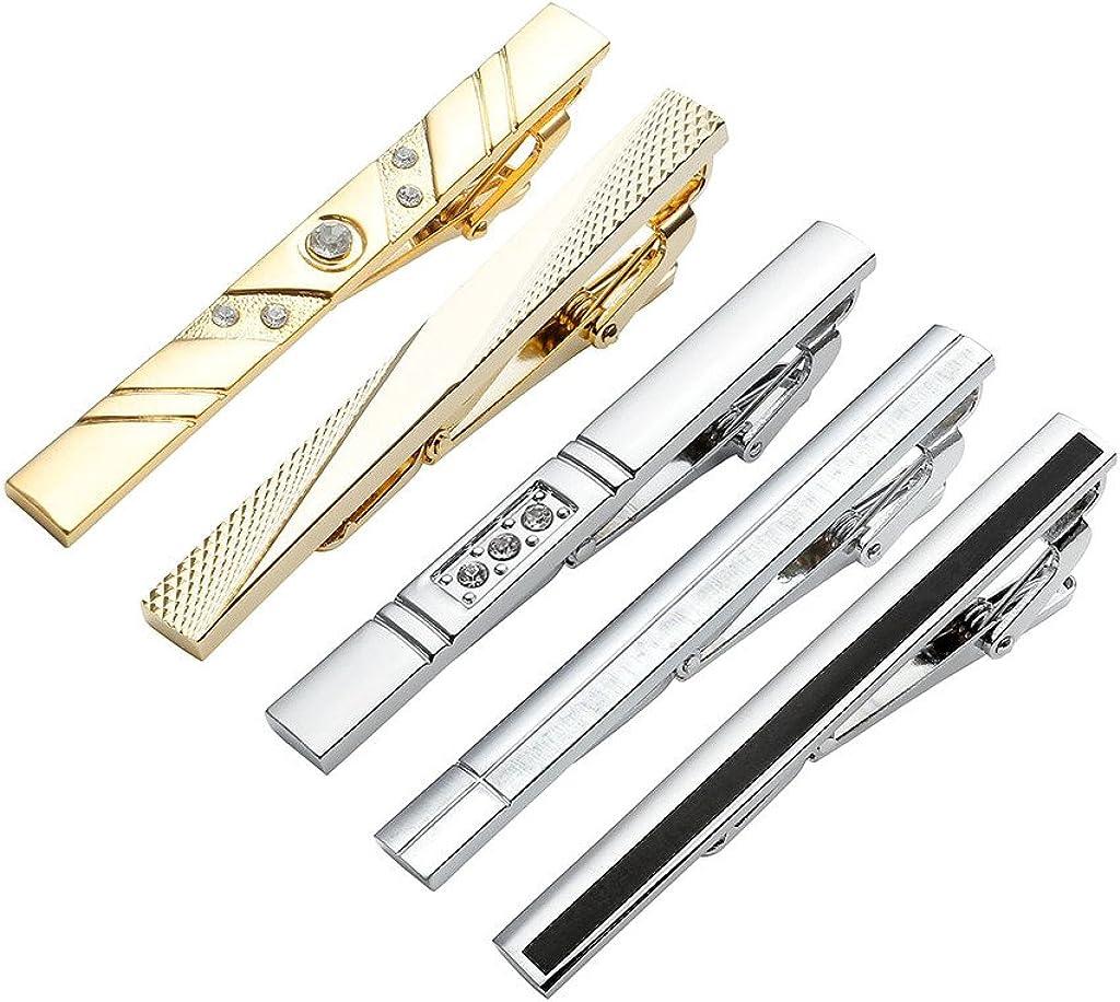 Zysta 5PCS Men Formal Dress Tie Clips Stainless Steel Silver Black Gold Wedding Business Shirts Necktie Clasps