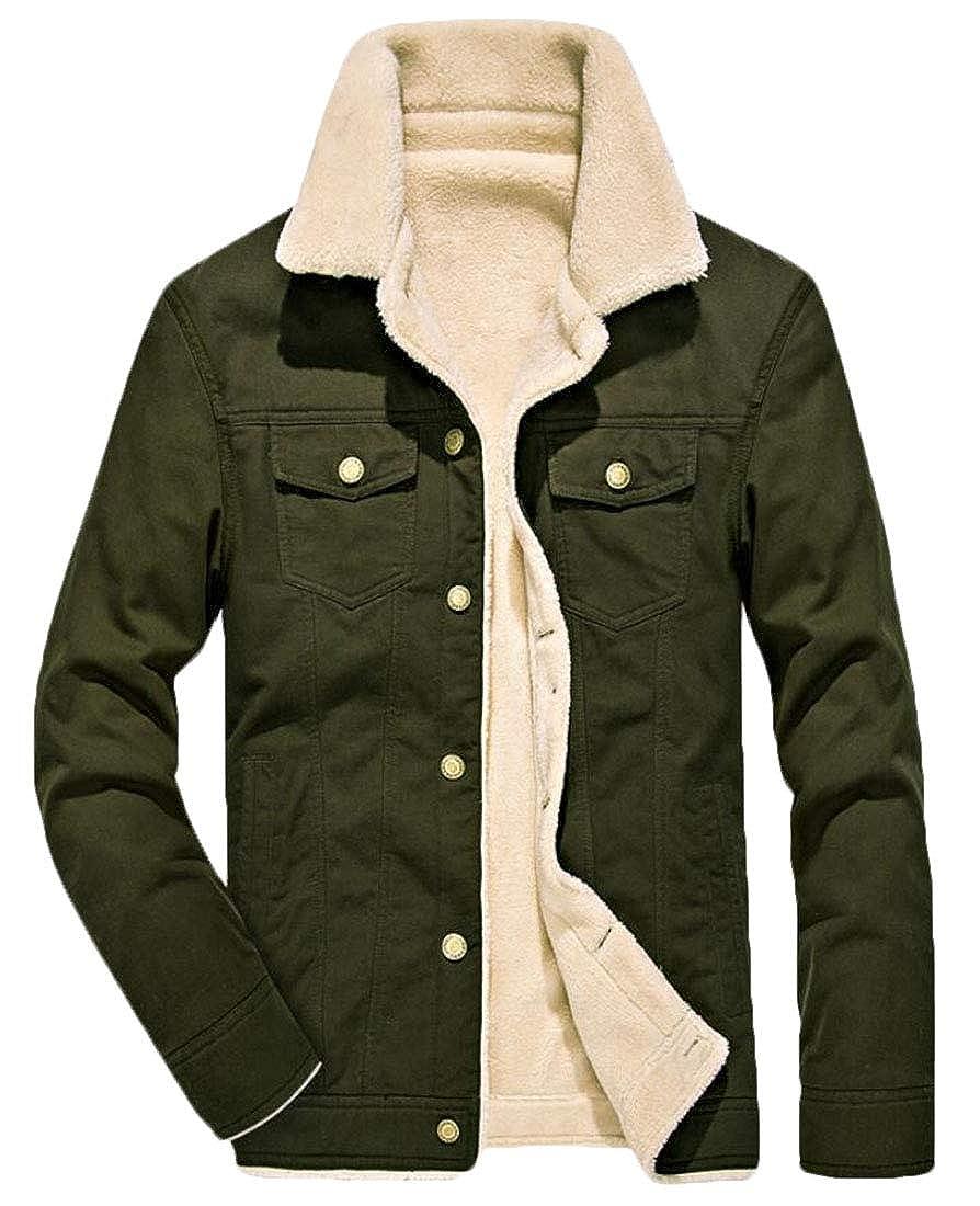 Spirio Men Buttons Outdoor Fashion Linen Fleece Thicken Down Jacket Coat