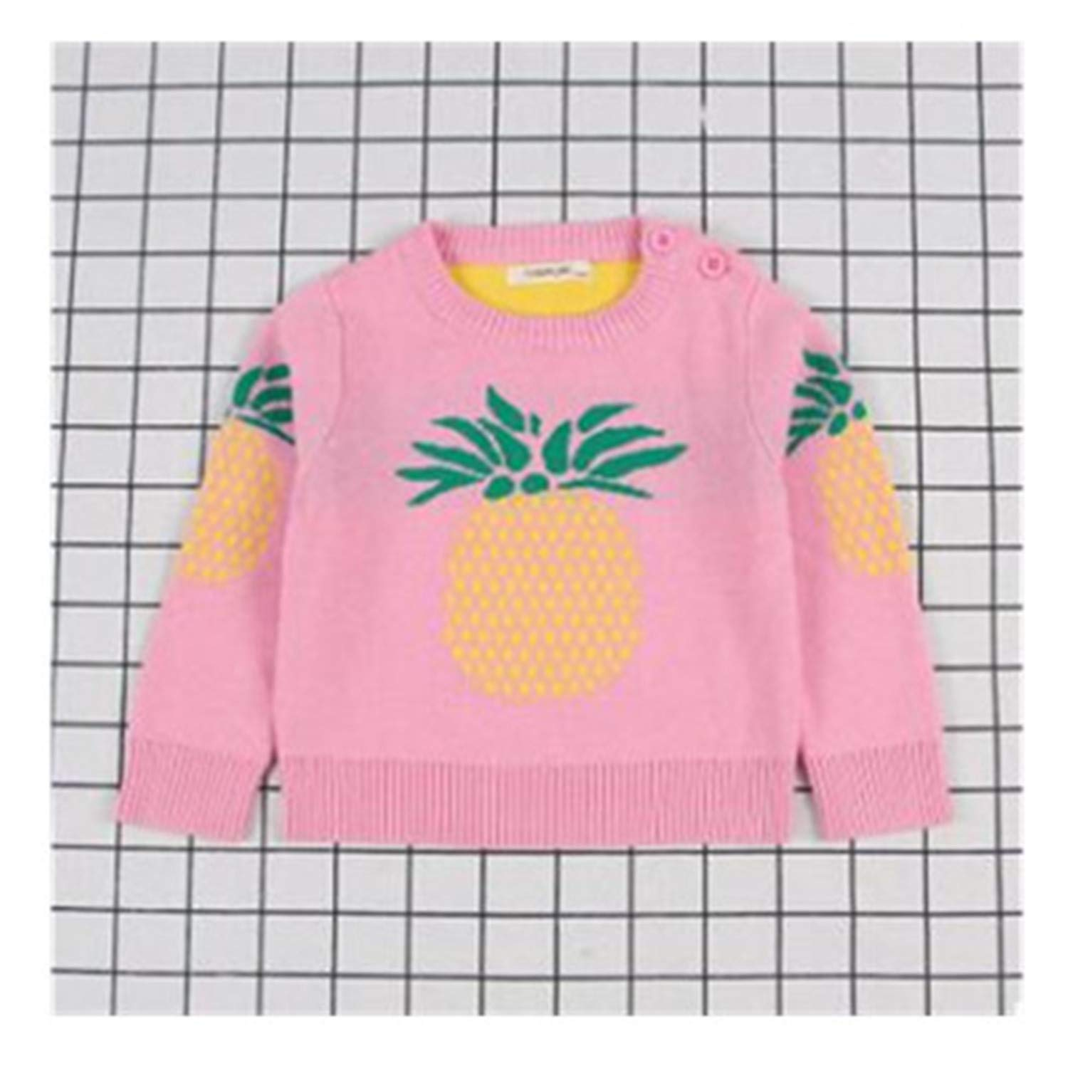 Gail Jonson Autumn New Sweater for Boys Child Pullover Pineapple Baby Girls Clothes Knit Sweater Pink As Pic 3T