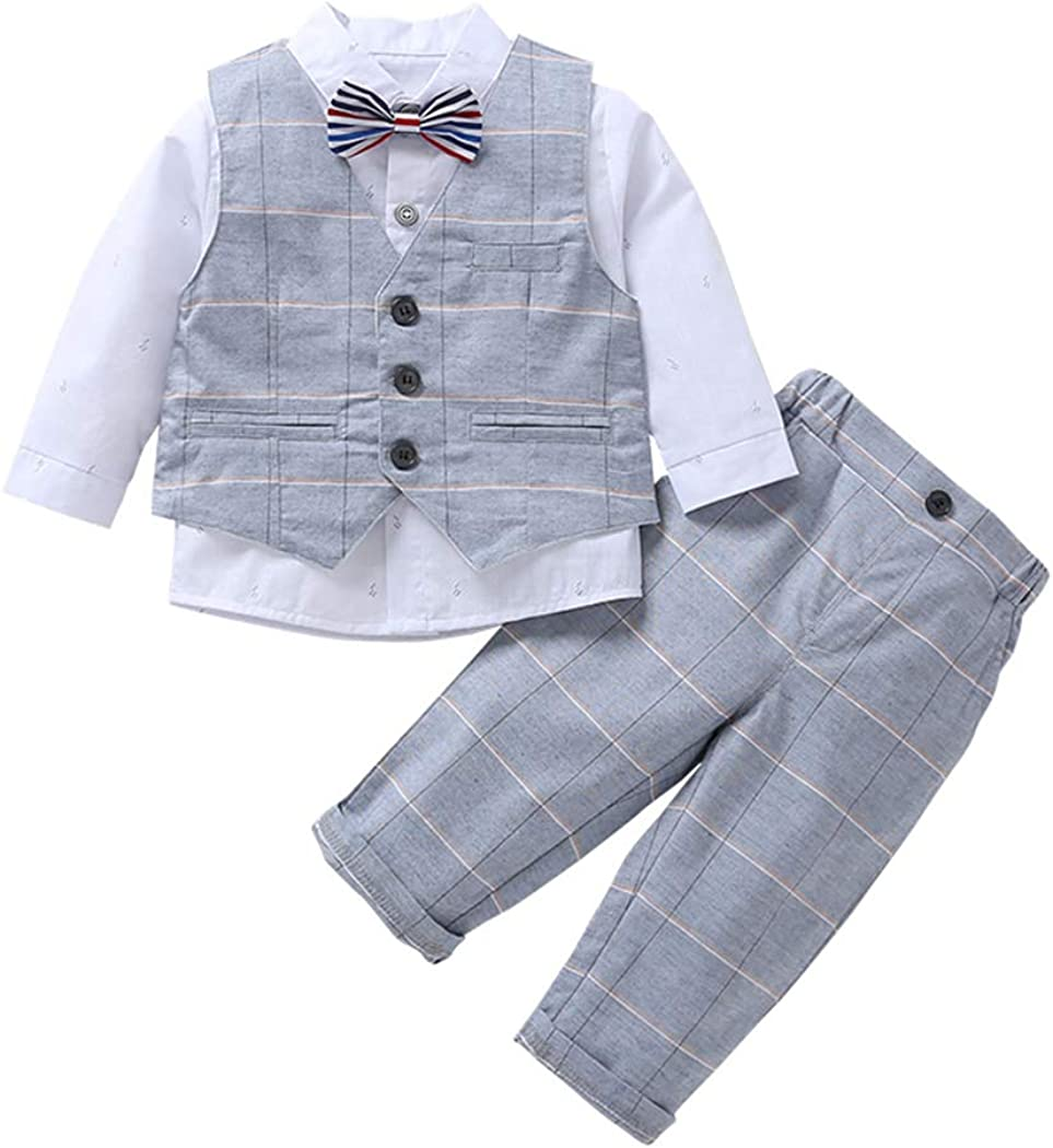 Pants Outfits Set Kids Baby Boys Wedding Formal Tuxedo Suit Long Sleeve Shirt