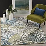 Safavieh Water Color Collection WTC669B Ivory and Peacock Blue Area Rug, 4′ x 6′ For Sale