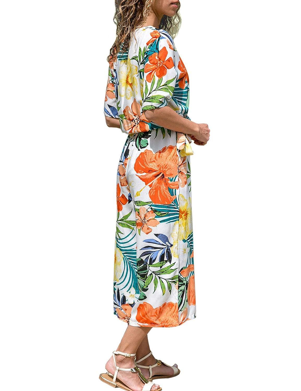 LookbookStore Womens Short Sleeve V Neck Floral Print Wide Leg Pants Jumpsuits