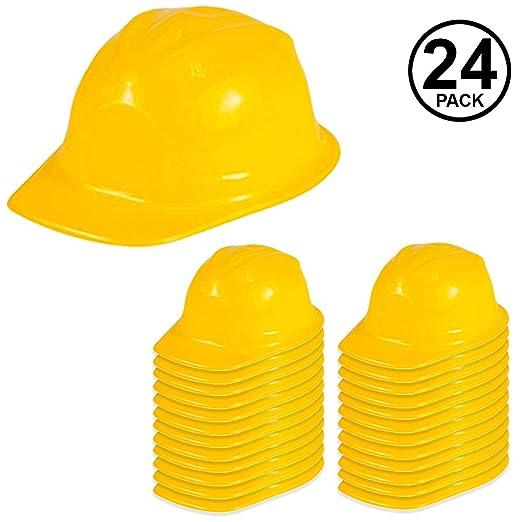 46270e21 Funny Party Hats Construction Party Hats - 24 Pack - Construction Hats -  Soft Plastic Hats