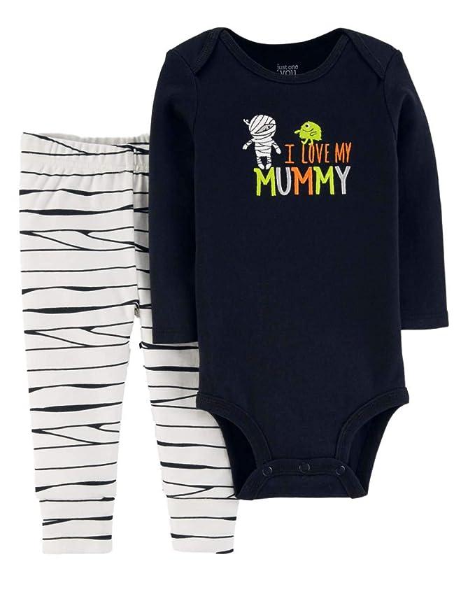 bd414e1cc06f Amazon.com  Carter s Just One You Baby Boys  Halloween I Love My Mummy 2pc  Set- Black White  Clothing