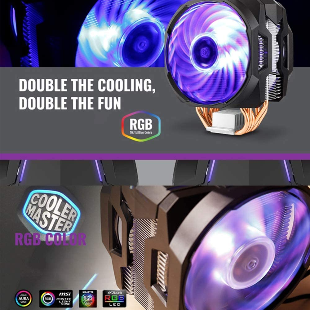 Desktop CPU Cooling Fan PLAIPH Cooling Fan 6 Heat Pipe Dual Fan 12cmRGB Desktop Computer Cooling Fan for Intel and AMD
