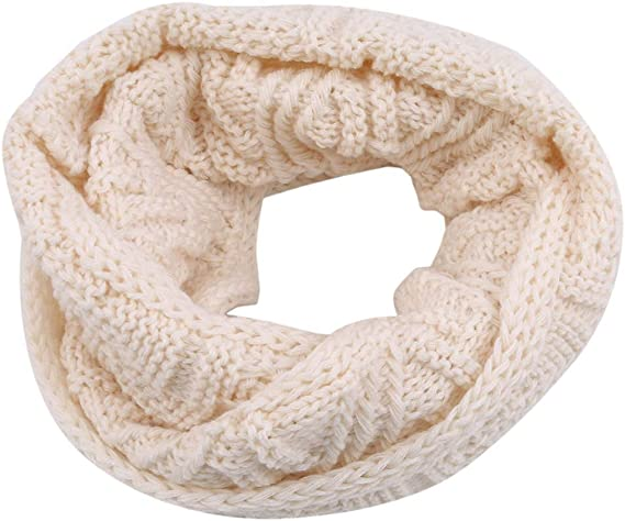 Women Winter Warm Infinity Cable Knitted Neck Cowl Collar Velvet Scarf Shawl R