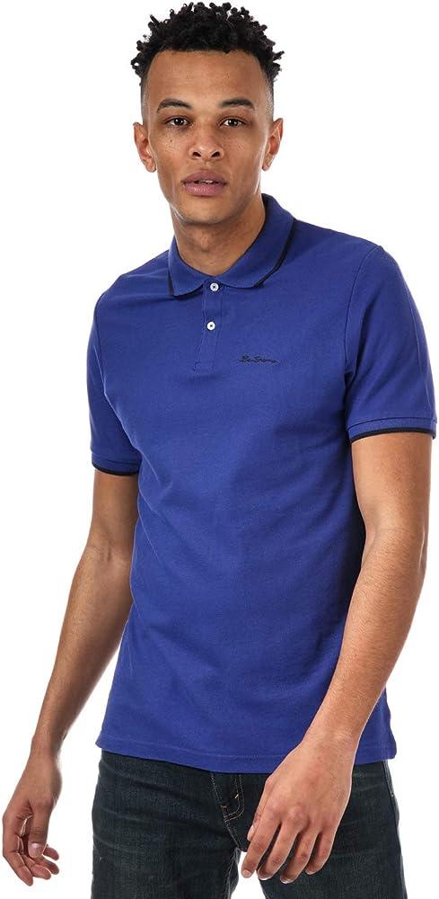 Ben Sherman - Polo de piqué con punta para hombre en color azul - Manga corta - Cuello acanalado Azul azul XL: Amazon.es: Ropa y accesorios