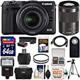 Canon EOS M3 Wi-Fi Digital ILC Camera with EF-M 18-55mm & 55-200mm IS STM Lens + 64GB Card + Case + Flash + Tripod + Filters + Remote + Strap Kit