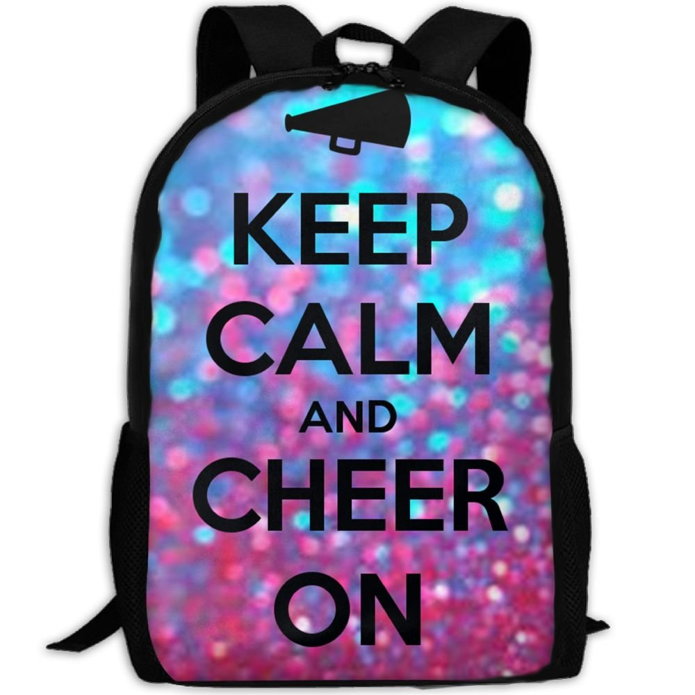 CRSJBB219 Keep Calm and Cheer On School リュックサック カレッジブックバッグ ユニセックス 旅行用バックパック ラップトップバッグ   B07H19S35W