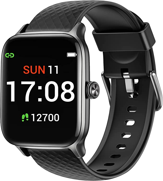 Letsfit Smart Watch Compatible with iPhone and Android Phones, Fitness Tracker with Heart Rate Monitor, Sleep Monitor & Blood Oxygen Saturation, 5ATM Waterproof Smartwatch for Women Men-Black   Amazon
