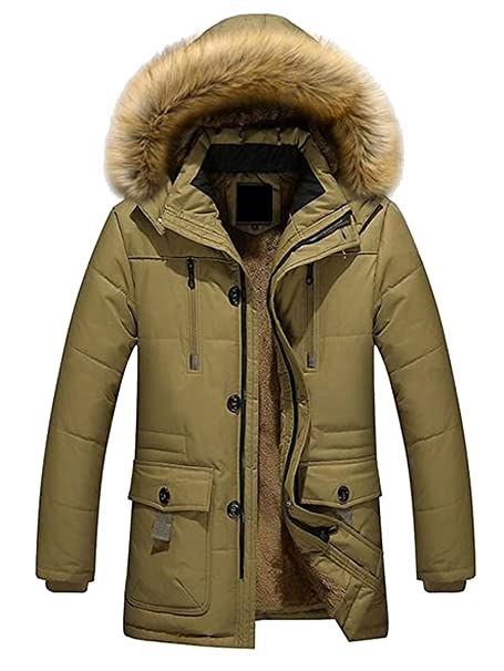 Jofemuho Mens Hoodie Warm Winter Camouflage Quilted Jacket Parka Coat Outerwear
