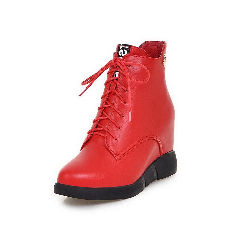 AllhqFashion Women's Solid PU High-Heels Zipper Round Closed Toe Boots