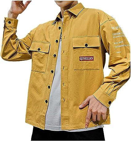 ZODOF camisa hombre camisas sport Nuevo Casual Comodo Moda Bolsillo Ropa de trabajo Carta Impresión Solapa Manga larga Blouse Moda para hombre camisa guapa camisa hombre(XXL,Amarillo): Amazon.es: Instrumentos musicales