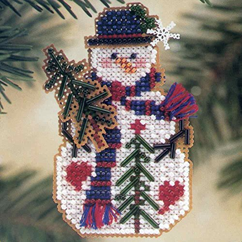 er Beaded Counted Cross Stitch Christmas Ornament Snowman Kit Mill Hill 2001 Snow Charmers MHSC28 ()