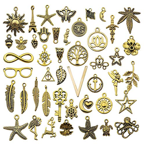 Youdiyla Mix 88pcs Gold Charms Collection, Antique Gold Tone, Mix Charms Metal Pendant Craft Supplies Findings for Necklace and Bracelet Jewelry Making (HM249)