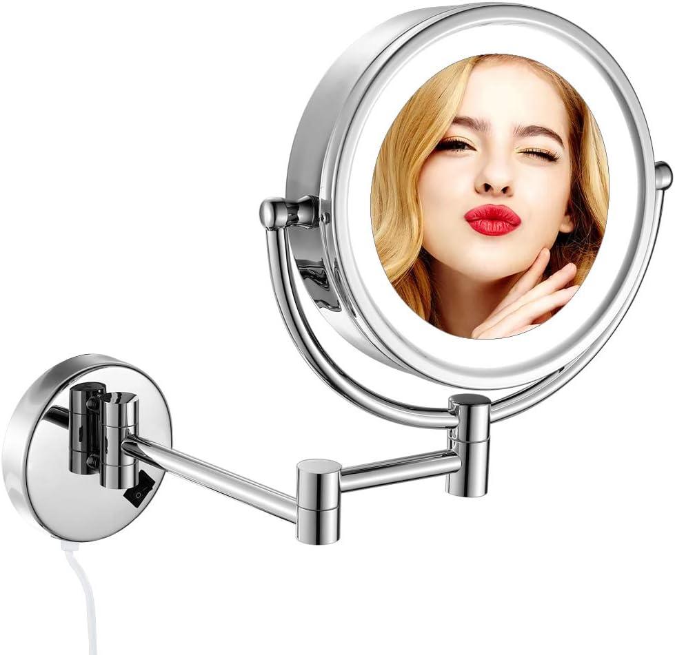 GURUN 10X Lighted Wall Mounted Magnifying Makeup Mirror