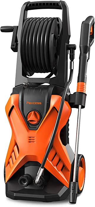 PAXCESS Xwasher-P2 3000PSI Pressure Washer, 1.76GPM Electric Power Washer Machine with Hose Reel, Adjustable Nozzle, Foam Cannon, Best for Driveway/Fence/Sidewalk/Patio Furniture/Deck