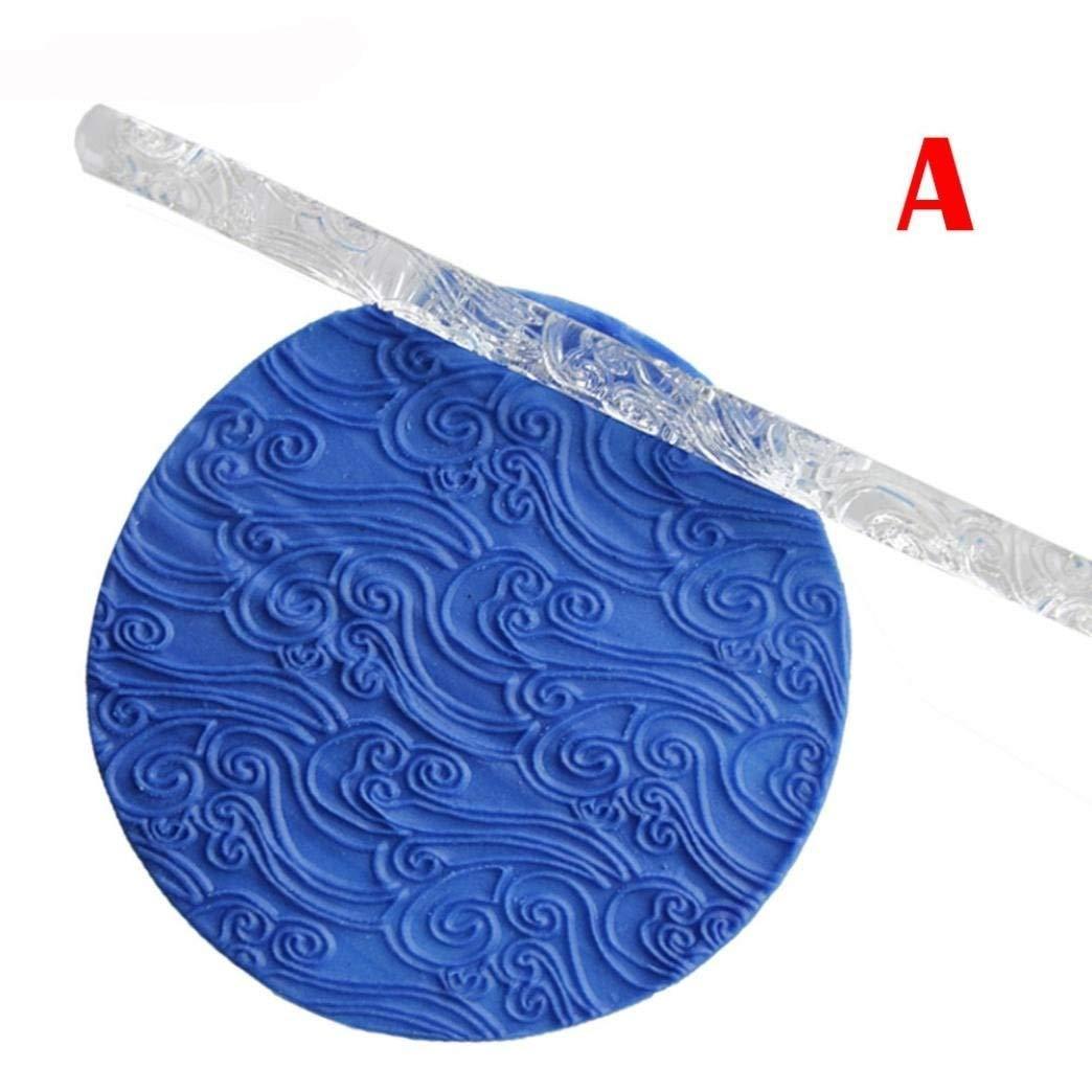 Embossing Acrylic Cake Decorating Tool SOEMSUN Rolling Pin Fondant Sugar Craft Baking (A)