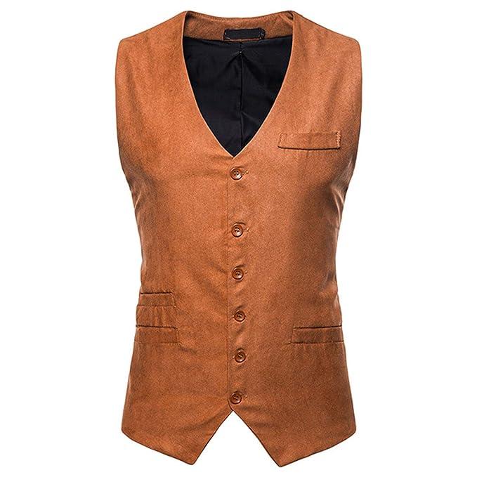Mildred Jones Single Breasted Suede Vest Men Casual Slim Fit ...