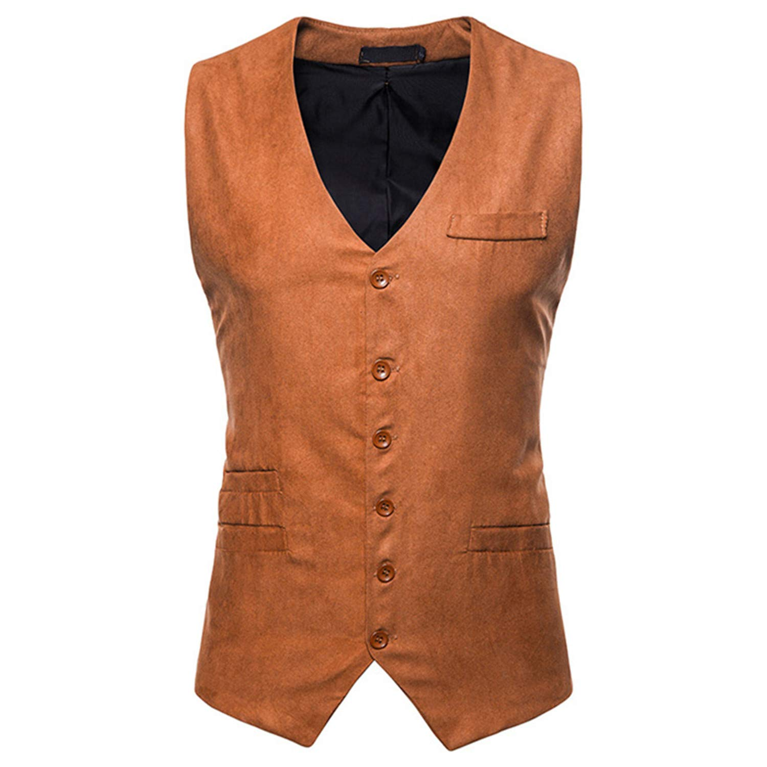 Mildred Jones Single Breasted Suede Vest Men Casual Slim Fit ...