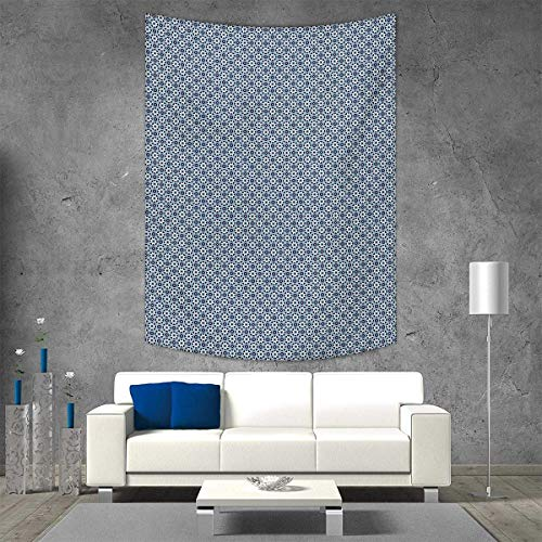 smallbeefly Stars Vertical Version Tapestry Asian Spiritual Shapes Octagons Squares Moroccan Inspirations Throw, Bed, Tapestry Yoga Blanket 51W x 60L INCH Dark Blue Aqua Beige