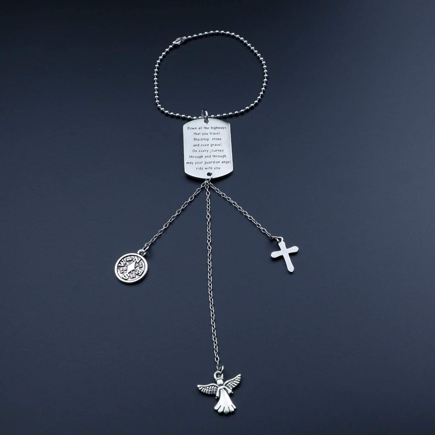 TYS Guardian Angel Rearview Mirror Guardian Angel Car Charm Drive Safe Car Charm Rearview Mirror Hanging Decorations