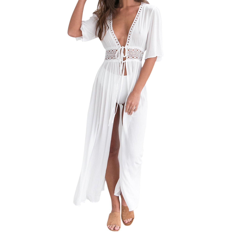 Petalum Damen Damen Bikini Cardigan Strandponcho Sommer Pareo Maxi Boho Einfarbig Leicht Hohe Taille Reizvolle Strand-Badeanzug-Kleid Urlaub See Beachwear