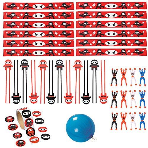 48 PC Ninja Party Pack Ninja Party Favors - Chop Sticks, Slap Bracelets, Stickers, Ninja Wall Climbers]()