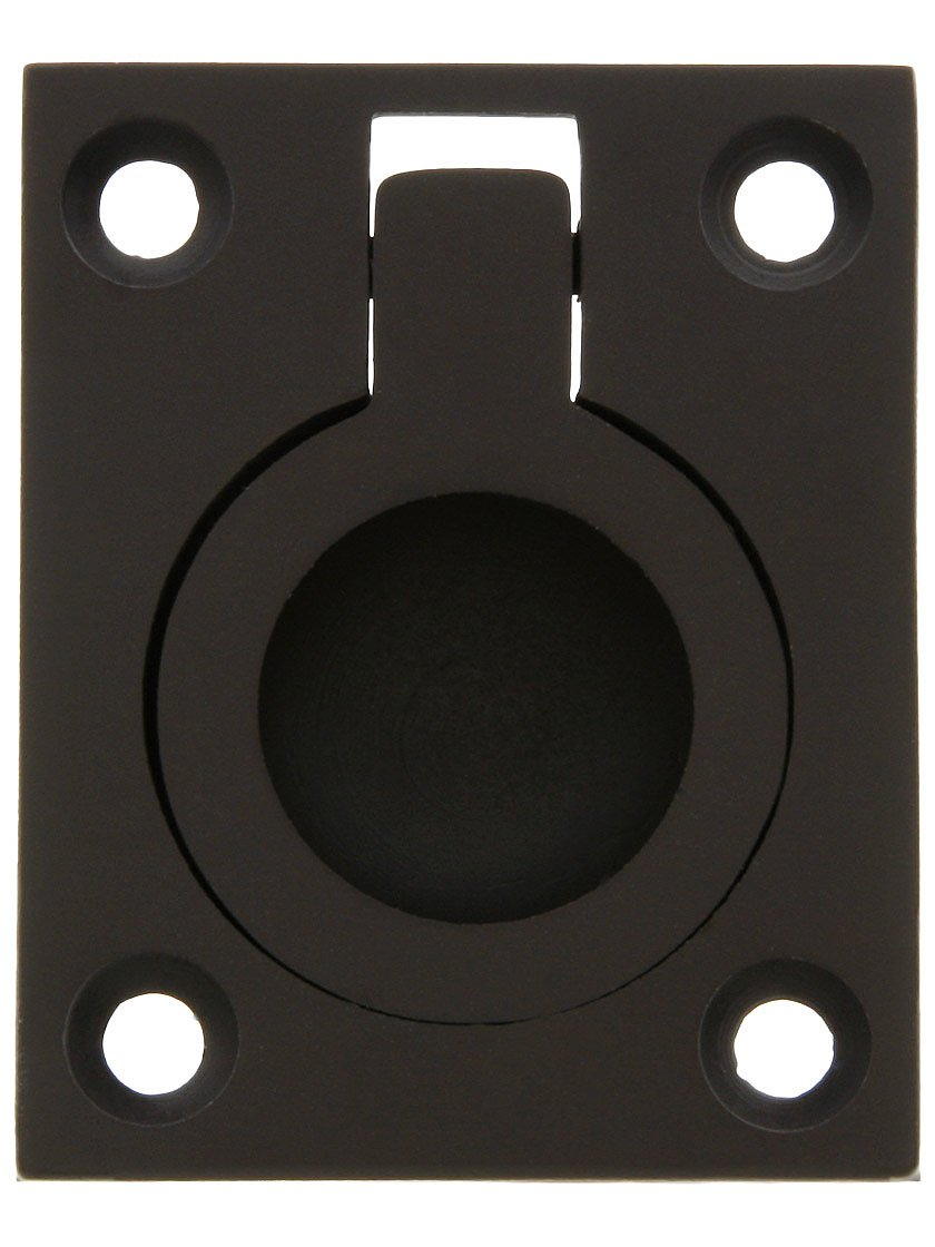 """Small Solid Brass Flush Mount Ring Pull - 1 7/16"""" x 1 3/4"""" in Oil Rubbed Bronze"""