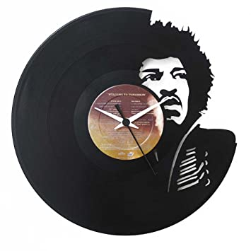 Jimi Hendrix, Geschenkidee, Vinyl Schallplatten- Uhr, Schwarz ...