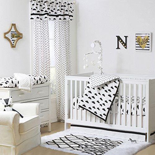 Fluffy Cloud Black and White Baby Crib Bedding - 11 Piece Sleep Essentials Set