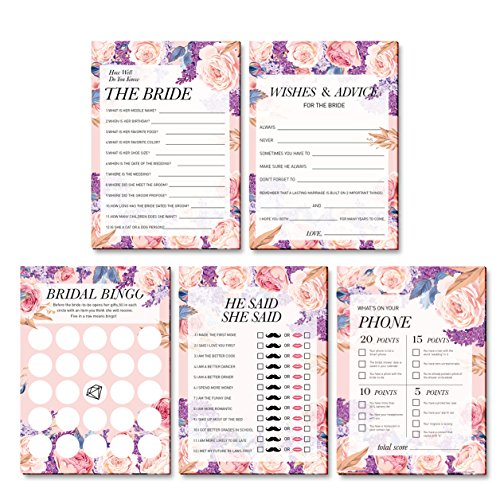 Shower Games Bingo Wedding (5 Bridal Shower Games Wedding Anniversary Game | He Said She Said | How Well do You Know the Bride | What is on Your Phone game | Marriage Advice and Well Wishes | Bridal Shower Bingo (10 sheets per game, 5 games))