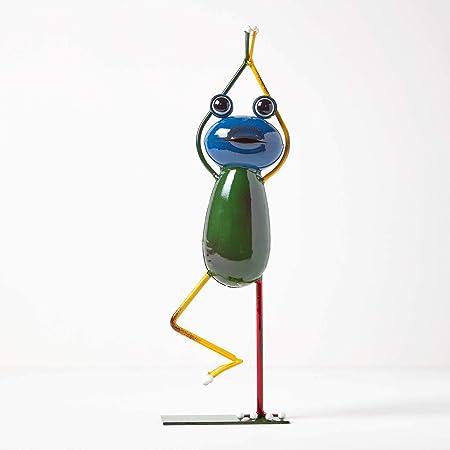 Figura decorativa de metal Homescapes para el jardín, diseño de rana, hecha a mano, de hierro, para interiores y exteriores, figura de jardín para estanque y balcón, multicolor aprox. Altura: 43 cm.: