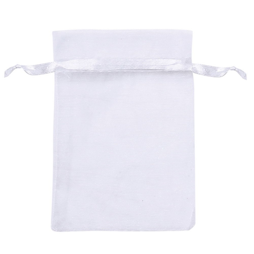 TTnight 100pcs Drawstring Sheer Organza Jewelry Pouches Wedding Party Favor Candy Gift Bags (Small, Light Purple)