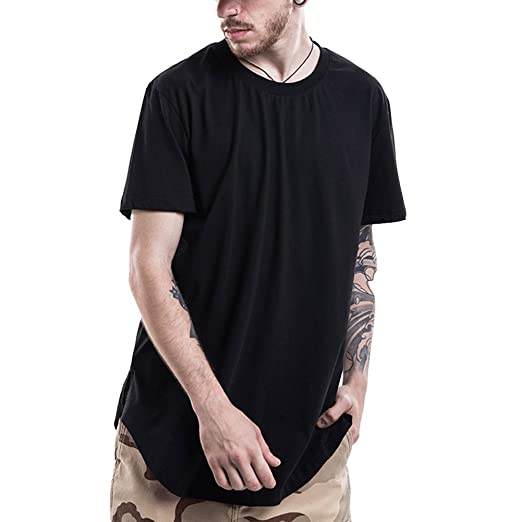 936cfae8 LONGBIDA Curved Hem Hip Hop T-Shirt Men Urban Extended T Shirt Plain Longline  Mens