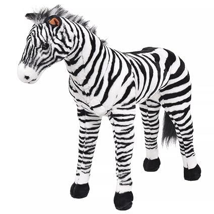 Festnight Standing Plush Zebra Soft Plush Toy Black And