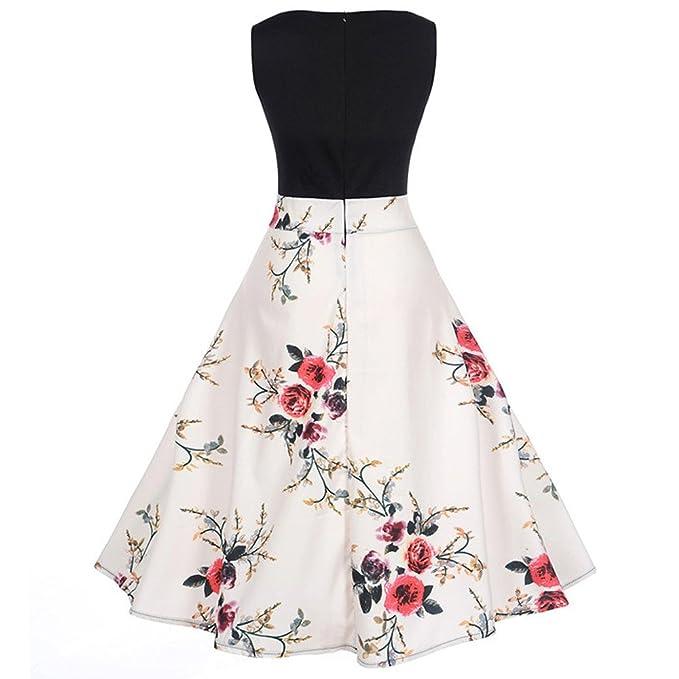 b93c4b6f70ee Innerternet Donna 1950s Hepburn Vintage Rockabilly Vestito Senza Maniche  Stampa Classico Retro Abito  Amazon.it  Abbigliamento