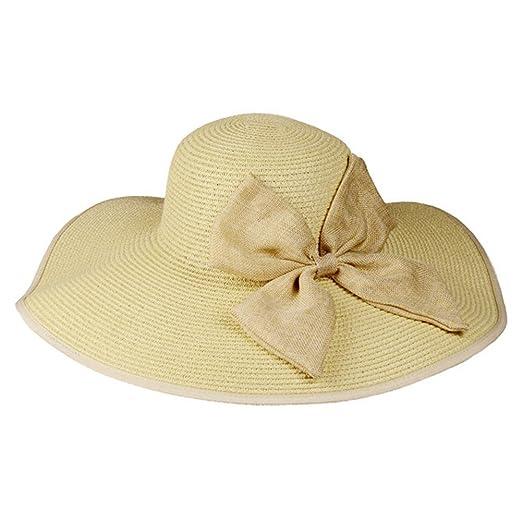 CRAZY Women Straw Hat Wide Brim Sun Visor Bow Summer Beach Sun Hat-beige f26f4aa483a