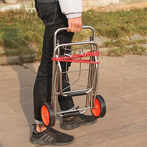 Handcart Stainless Steel Pull Rod Car Hand Truck Luggage Cart Small Trailer Folding Trolley Shopping Cart Portable Cart Load 50 Kg (Color : A) by Hw Ⓡ Handcart (Image #3)