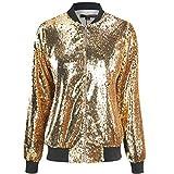 Cresay Women's Sequin Fitted Long Sleeve Zipper Blazer Bomber Jacket-Rose Gold S
