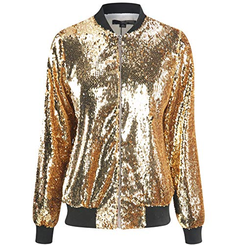 Cresay Women's Sequin Fitted Long Sleeve Zipper Blazer Bomber Jacket-Rose Gold S by Cresay (Image #1)