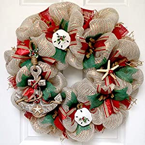 Coastal Christmas Wreath Handmade Deco Mesh With Anchor 52