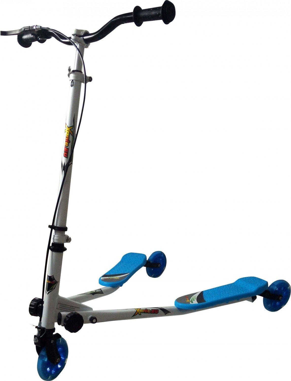 Xanie F1- Sporter-Scooter, Weiss/blau, mit Licht ab 6 Jahre, bis 80 kg