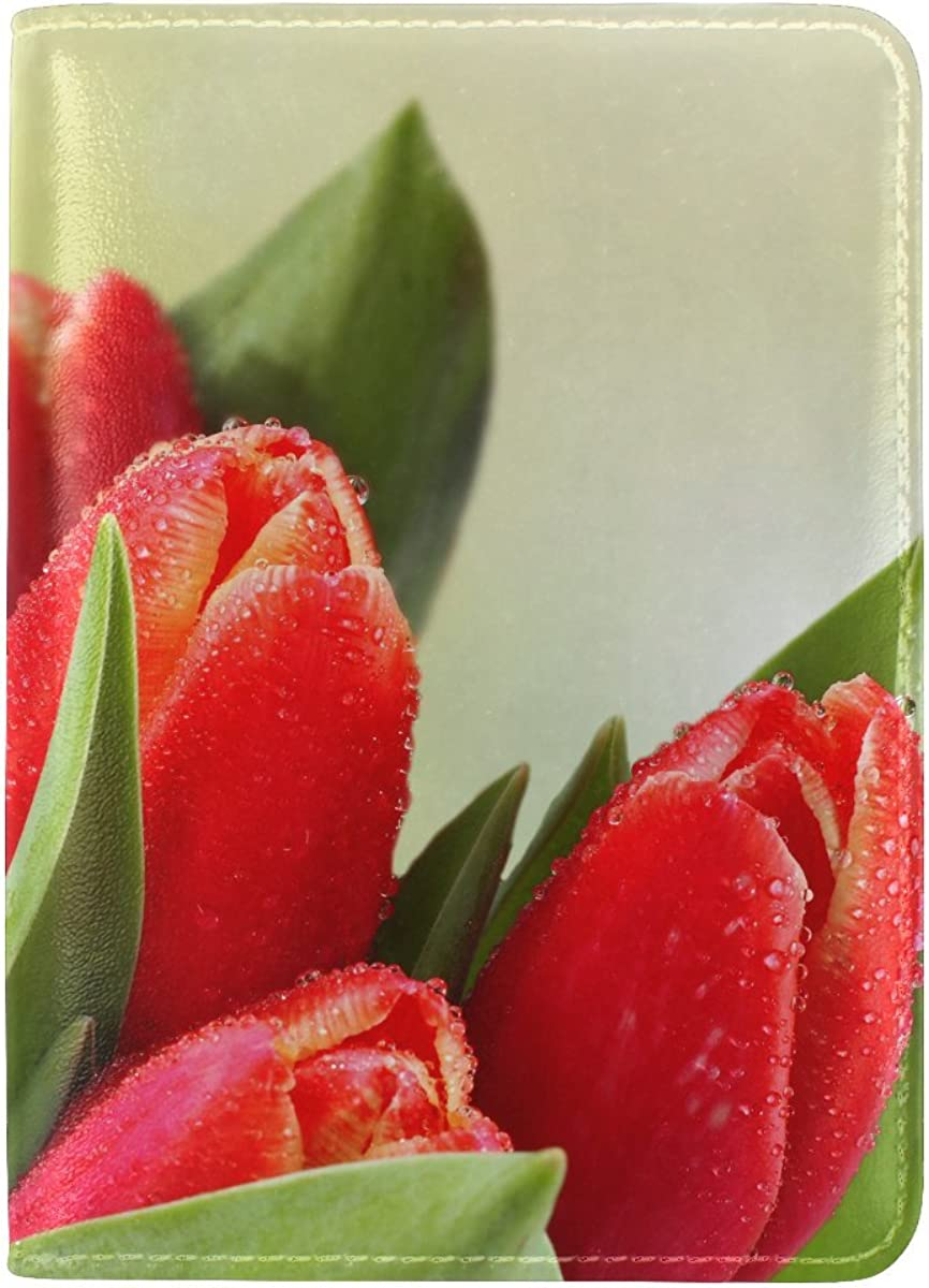 Tulip Flower Bud Leather Passport Holder Cover Case Travel One Pocket