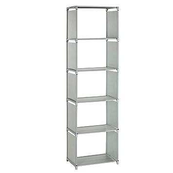 SONGMICS Aufbewahrungsregal, Bücherregal mit 5 Ebenen, Organizer für  Kleidung, jede Ablage mit bis zu 5 kg belastbar, 50 x 30 x 180 cm, für ...