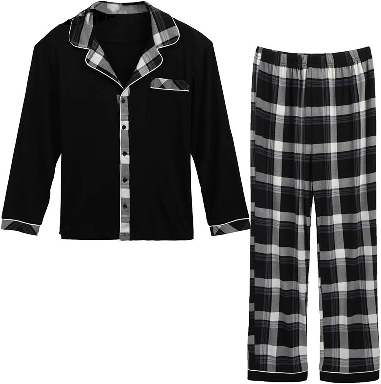 Thadensama Long Sleeve Set Collar Plaid Men Pants Tops Pockets and Pajama Notched White Black XXL