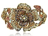 Alilang Womens Antique Golden Tone Topaz Colored Rhinestones Floral Bangle Bracelet