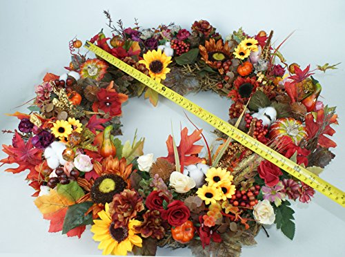 Pumpkin Wreath Harvest Silk Front Door Wreath Large Fall Wreath for Halloween&Thanksgiving 24 Inches by Forevercute (Image #3)