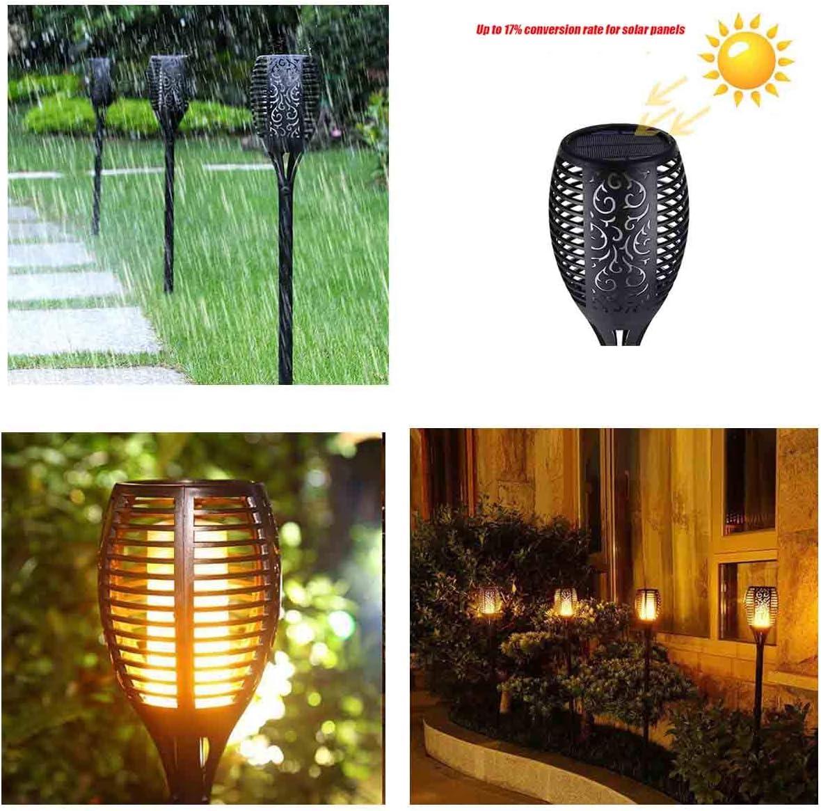 Solar Flammenlicht Solarleuchte Garten IP65 wasserdicht Solarlampe Gartenfackeln mit realistischen Flammen Automatische EIN//Aus Au/ßen warmlicht G/ärten 4 St/ück Rasen Beleuchtung