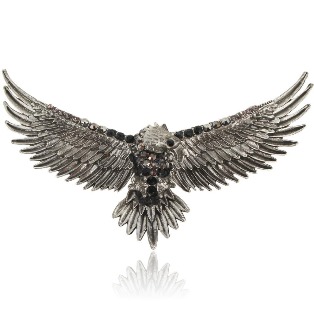 EVER FAITH Austrian Crystal Vintage Style Big Eagle Bird Animal Brooch